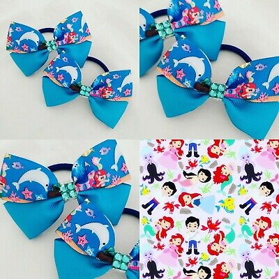 Handmade Girls  Beauty Princess Hair Bow Bobbles Sold In Pairs