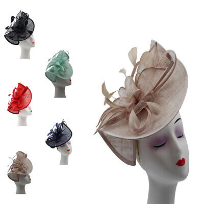 LARGE Fascinator Sinamay Bend With Feathers Flower Royal Ascot Race Wedding Hat