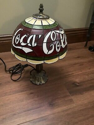 """Vintage Coca Cola Plastic Shade Tiffany Style Lamp """"Stained Glass"""" Coke Rare Bar"""