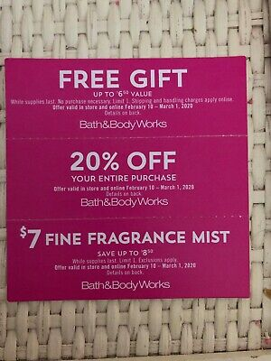 3 BATH AND BODY WORKS COUPONS Expires 3/1/2020