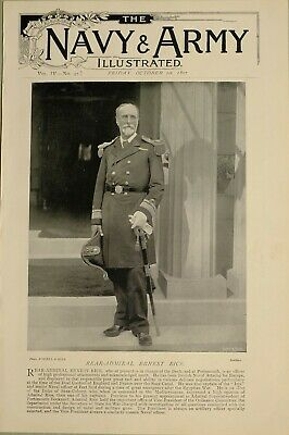 1897 Print Rear Admiral Ernest Rice In Charge Dockyard Portsmouth