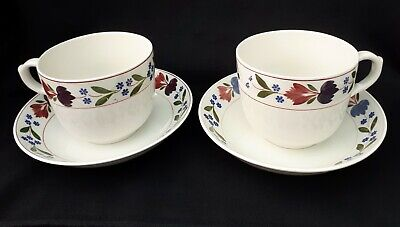 Adams Old Colonial - 2 Large Breakfast Cups With Saucers/Bowls