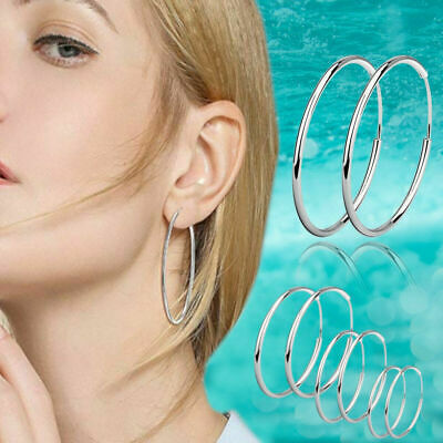 Teen Women's 925 Sterling Silver Plated Lightweight Endless Circle Hoop Earrings