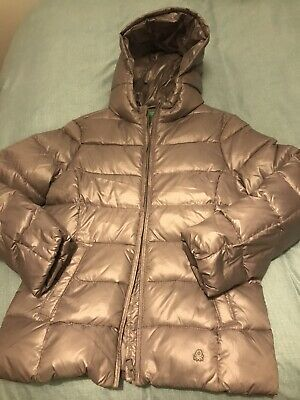 Girls Benetton Jacket Padded 11-12 Silver /taupe