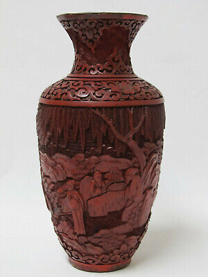 Antique Chinese Carved Figure & Landscape Design Cinnabar lacquer Vase