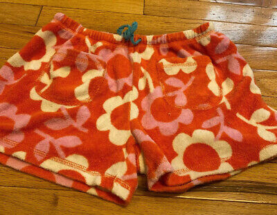 Mini Boden Girls Pink Orange Floral Terry Towelling Shorts Girls 12