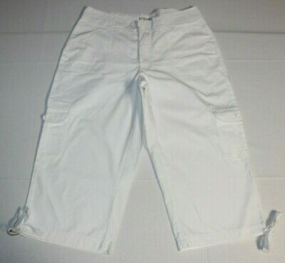 Womens Riders by Lee Cargo Cropped Capri Pockets Strings Pants Sz:10 M White