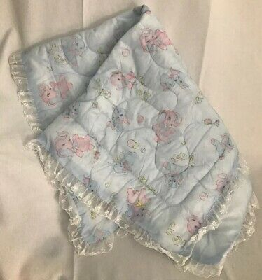 Vintage Quilted Silky Lace Trim Pink Blue Baby Blanket Elephants & Blocks Nylon