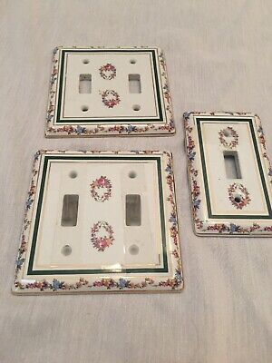 Light Switch plate Porcelain Hand Painted Flowers   Set Of 3. Two Double Switch
