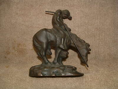 Vintage Heavy Solid Bronze Or Brass Horse & Warrior Book End Or Statue