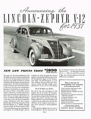 Factory Photo 1937 Lincoln Zephyr Fordor Ref. #52735