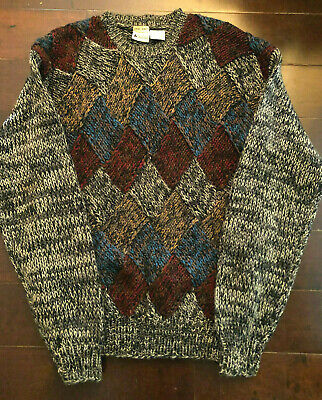 Men's Bachrach Hand Knit Multi Colored Sweater Size L