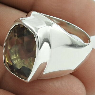 Natural SMOKY QUARTZ Gemstone HANDMADE Jewellery 925 Silver Ring Size Q EE16
