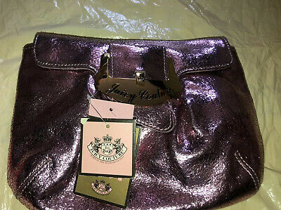 NWT Juicy Couture Metallic Pink Purple Handbag Clutch. Genuine Leather.