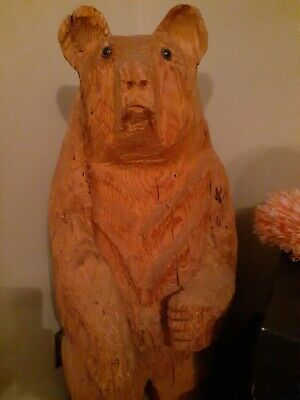 "Solid Wood Bear Hand Carved Figure 48"" tall approx 16"" around.Raw wood no finish"