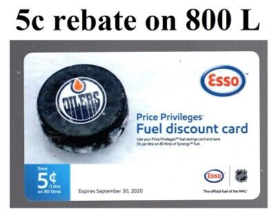 ESSO - Save 5c on 800 L (40$ total value) Fuel Gas rebate saving cards CANADA