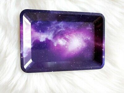Weed 420 Purple Starry Sky Outer Space Tobacco Herb Rolling Tin Tray (5X7)