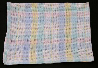 Vtg Beacon Pastel Plaid Baby Blanket 100% Cotton Thermal Open Waffle Weave 1675