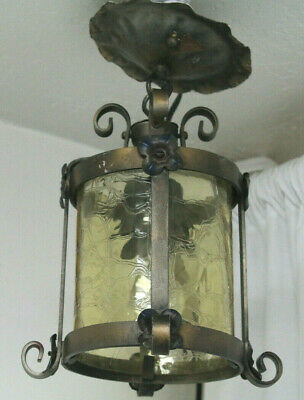 Vtg Amber Glass Wrought Iron Ceiling Fixture Light Mid Century Gothic style