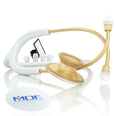 MDF747XPK29 Acoustica Lightweight Dual Head Stethoscope - White and Gold