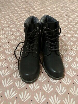 Next Ladies Black Lace Up Boots, Size 6, Brand New