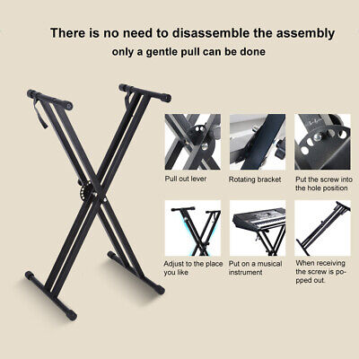 UK Double Braced Electronic Piano Keyboard Stand X Style Frame Height Adjustable