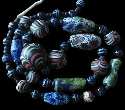 Unique Ancient Phoenician Roman Islamic Mixed Mosaic Glass Beads Strand Necklace