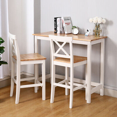 Modern Kitchen Dining Breakfast Bar Table And 2 High Chairs Stools Set Pine Wood 227 94 Picclick Uk