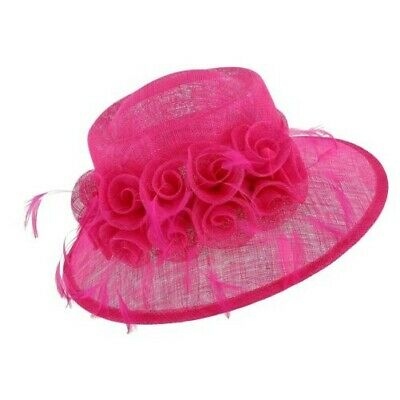 New Angela & William Women's Sinamay Fascinator Hat with Flowers and Feather