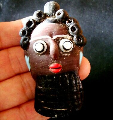 Antique Phoenician Black Face Curly Hair Mosaic Glass Bead Totem Pendant 763