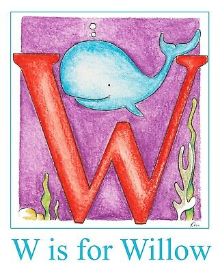 Personalised Alphabet W Print for boys and girls whale sea life animals