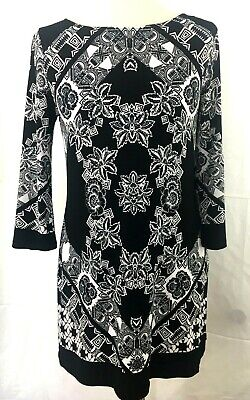 Style & Co. Womens Dress Black White Geometric Sz:M Poly/spandex stretchy