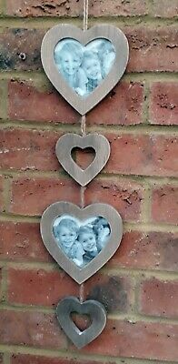 """Double Heart Photo Frame Wall Rustic Hanging fits 4"""" Picture Family Photos New"""