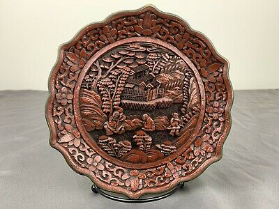 Gorgeous Antique 1900s Chinese Hand Carved Red Cinnabar Plate