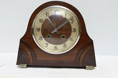 FOREIGN Art Deco Carved Design Wooden Chiming Mantel Clock - 254