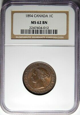 1894 Canada Large Cent NGC MS-62 BN 1c