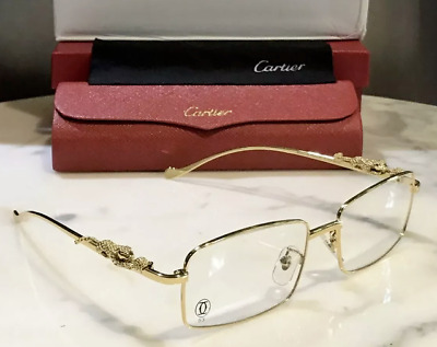 Cartier Gold Full Rim Clear Sunglasses Glasses Wire Metal Smooth Panther MOD