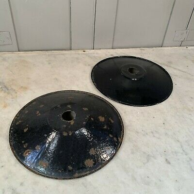 Couple of vintage French black enamel coolie light shades