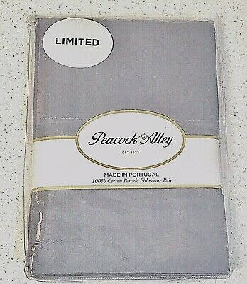 Peacock Alley 2 Standard Pillowcases 100% Crisp Cotton Percale Gray $85 *LIMITED