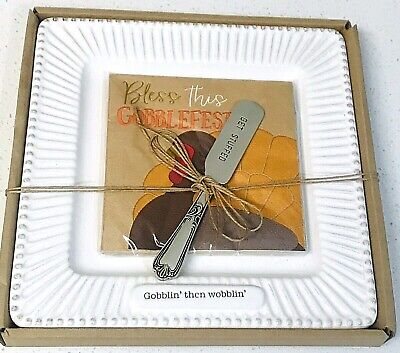 "Mud Pie Thanksgiving Cheese Plate Spreader Set 3 pc ""Gobblin' then wobblin' """