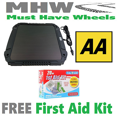 AA 4.8W Battery Solar Charger  New Larger Size Car Caravan & 20 Pce 1st Aid Kit