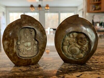 Antique Chinese Carved Stone Peaches with Carved Figures