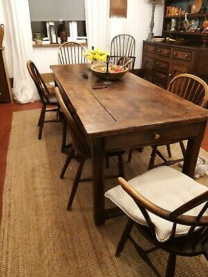 18th Century Fruitwood And Pine Refectory Dining Table Georgian Farmhouse Table