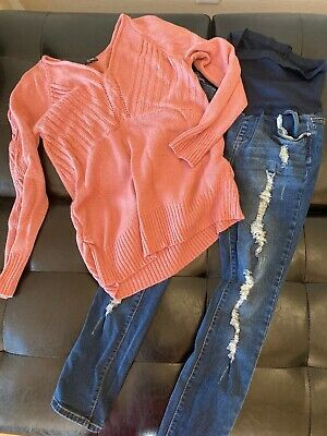 Maternity Outfit Lot Med Shirt Large Pants