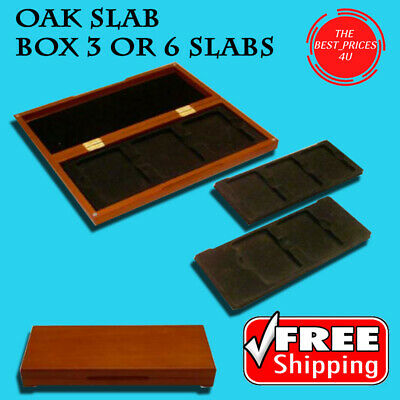Certified Graded Coin Slab Oak Display Box 3/6 PCGS NGC Safe Storage Case