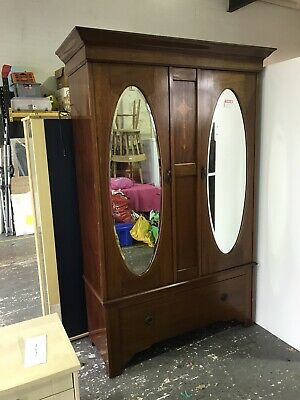 Edwardian Inlaid Double Doored & Mirrored Wardrobe.  Excellent condition.