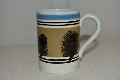 Antique Early Mochaware Tankard Seaweed Dendric Design. Banded 19th Century Rare