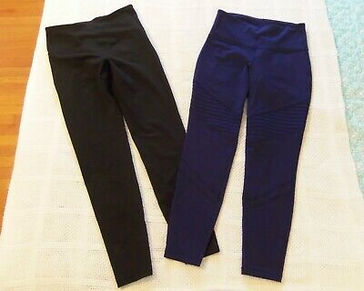 LOT 2 OLD NAVY Active WORKOUT PANTS Athletic Go-Dry BLACK / BLUE M Medium EXC!