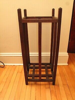 Antique Arts & Crafts Umbrella Cane Stand Stickley Era Oak Wood