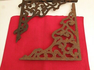 Pair Antique Shelf Brackets, Ornate, Cast Iron - Look At Ends Not The Same Ends